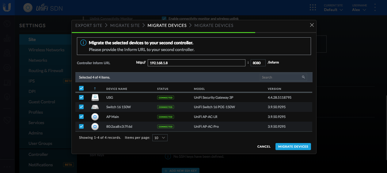 UniFi - Migrating Sites with Site Export Wizard – Ubiquiti Networks