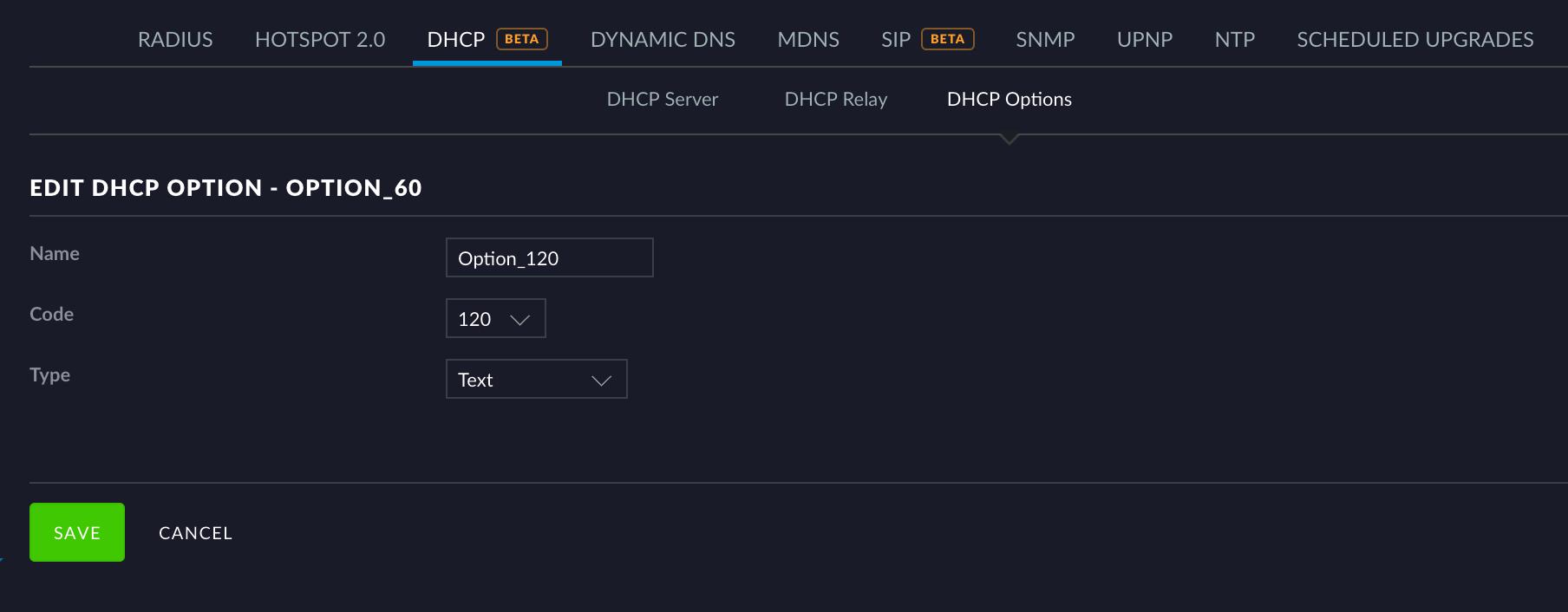 UniFi - USG: How to Configure Custom DHCP Options – Ubiquiti